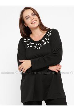 Black - Plus Size Blouse - CARİNA(110320105)