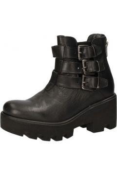 Bottines Crown bottines noir cuir AE919(115399584)