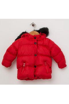Mammaramma Kız Çocuk Kürk Detaylı Kapüşonlu Kırmızı Mont(113968338)