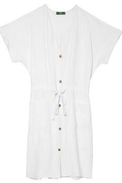 Limon Beyaz Bağcıklı Elbise(113996576)