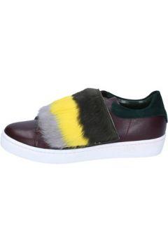 Baskets Islo sneakers bordeaux cuir vert fourrure BZ212(88470236)