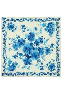 Valentino Garavani Kadın Mavi Beyaz Çiçek Desenli İpek Eşarp EU(118330386)