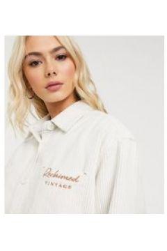 Reclaimed Vintage inspired - Camicia oversize écru a coste con logo ricamato-Crema(120374508)