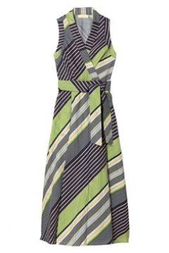 Tory Burch Kadın V Yaka Çizgili Kuşaklı Midi Anvelop Elbise Mavi 4 US(113466327)