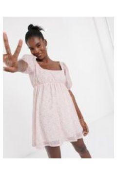 New Girl Order x Hello Kitty - Vestito grembiule corto con maniche a sbuffo e stampa-Rosa(120615196)