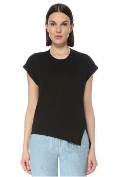 Etoile Isabel Marant Kadın Siyah Yırtmaç Detaylı Keten T-shirt S EU(127641544)
