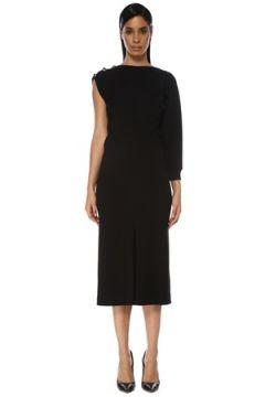 Givenchy Kadın Siyah Asimetrik Düğme Detaylı Midi Elbise 36 IT(119785499)