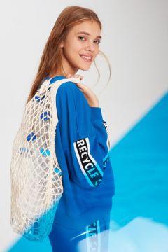 Kadın Kolları Serit Slogan Baskılı Sweatshirt(110908756)