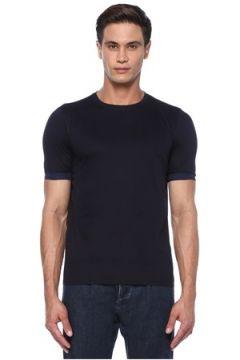 Caruso Erkek Lacivert Ribana Detaylı Basic T-shirt S US(118214500)