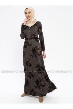 Brown - Multi - V neck Collar - Fully Lined - Dresses - MissGlamour(110320695)