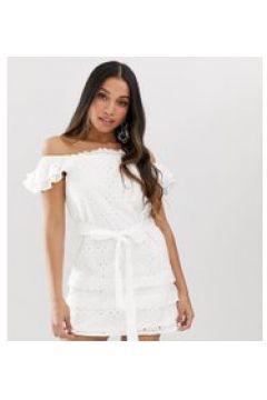 Parisian Petite - Schulterfreies weißes Kleid mit Lochstickerei - Weiß(94965864)