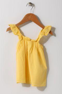 Mammaramma Kız Bebek Dantel Kol Sarı Bluz(113968020)