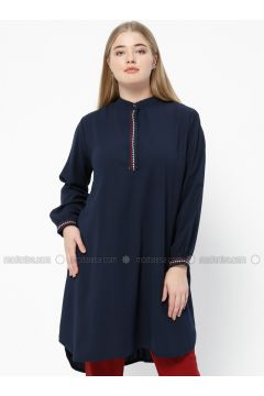 Navy Blue - Crew neck - Plus Size Tunic - SUEM(110315228)