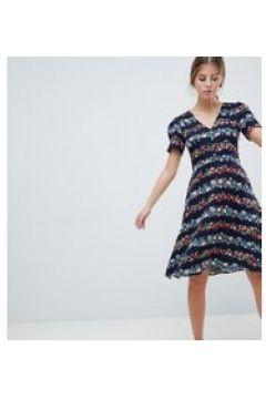 Oasis - Vestito midi skater con stampa a fiorellini a righe-Multicolore(120302636)