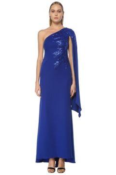 Tadashi Shoji Kadın Lacivert Pelerin Detaylı Maxi Abiye Elbise Mavi 6 US(124437871)