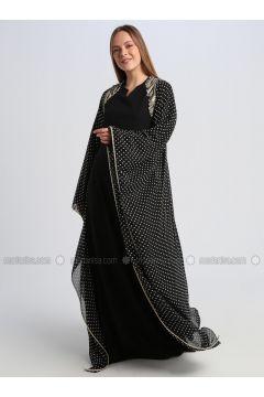 Black - Polka Dot - Fully Lined - V neck Collar - Muslim Evening Dress - Le Mirage(110337536)