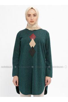 Green - Crew neck - Tunic - HANIMŞAH(110328838)
