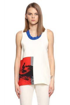 Victoria Beckham-Victoria Beckham Desenli Kolsuz Beyaz Bluz(115704807)