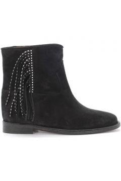 Boots Via Roma 15 Bottines en daim noir avec franges(115434343)
