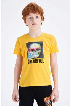 DeFacto Erkek Çocuk Hologram Kurukafa Baskılı Kısa Kollu T-shirt(119060070)