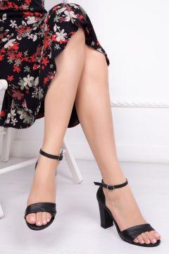 Deripabuc Hakiki Deri SİYAH Kadın Topuklu Deri Ayakkabı(124965890)