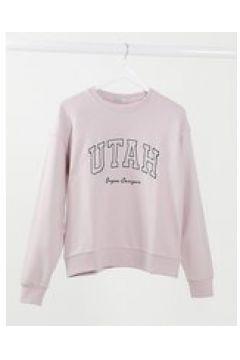 """Stradivarius - Felpa oversize stile college rosa con ricamo \""""Utah\""""(124133121)"""