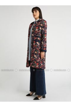 Navy Blue - Floral - Fully Lined - Topcoat - MOODBASİC(110339168)