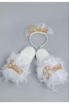 ASIMOD Kadın Bride Havlu Terlik Ve Bride Taç Ikili Takım(123361116)