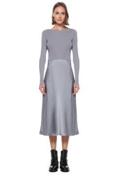 Allsaints Kadın Gri Triko Detaylı Midi Elbise XS EU(122583482)