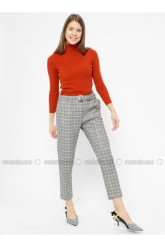 Black - Plaid - Pants - İkoll(110319967)