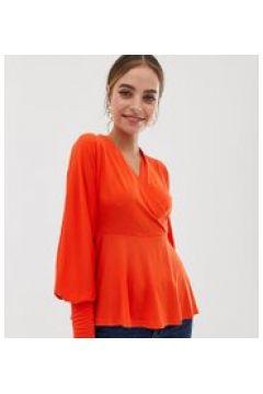 Y.A.S Petite - Oberteil mit V-Ausschnitt - Orange(86691993)