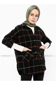 Black - Plaid - Point Collar - Blouses - İroni(110338998)