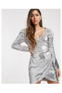 Skylar Rose - Vestitino a portafoglio elegante con paillettes-Argento(120331821)