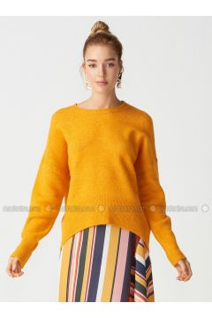 Orange - Crew neck -- Jumper - Dilvin(110327566)