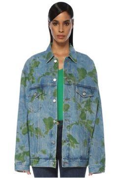 Balenciaga Kadın Oversize Yaprak Baskılı Jean Ceket Mavi 36 FR(120498397)