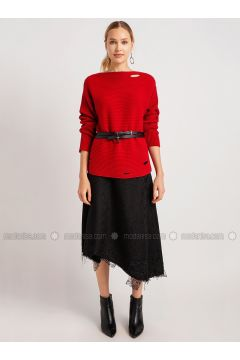 Red - Crew neck - Viscose - Acrylic -- Knitwear - NG Style(110341262)