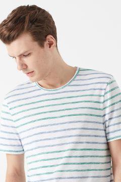 Mavi Çizgili Beyaz T-Shirt(126443281)