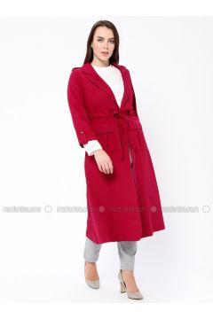 Fuchsia - Cherry - Crew neck - Shawl Collar - Unlined - Plus Size Suit - Tuana(110338916)
