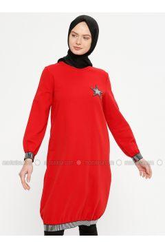 Red - Crew neck - Cotton - Tunic - Marwella(110332573)