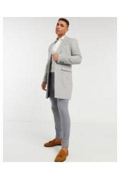 Gianni Feraud - Cappotto lungo in misto lana grigio a spina di pesce(123526717)
