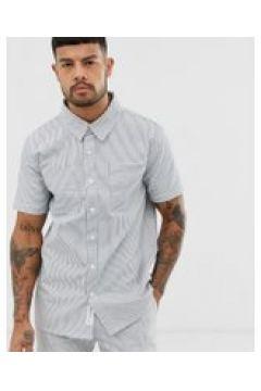 Native Youth - Camicia a maniche corte bianca a righe in coordinato-Bianco(120280735)