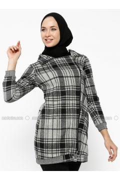 Gray - Plaid - Unlined - Point Collar - Cotton - Topcoat - Dadali(110323028)