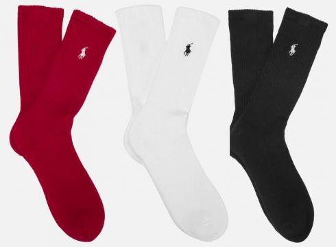 Polo Ralph Lauren Men\'s 3 Pack Socks - Red/Black/White(81753159)