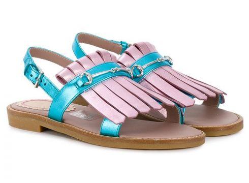 Gucci Kids sandales à détails de franges - Rose(65499770)
