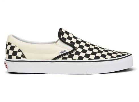Vans Men\'s Classic Slip-On Canvas Trainers - Black/White - 7 uk - Black-White(52289984)