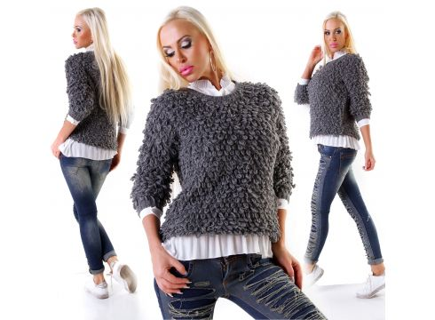 Zottel Wolle Pullover Schlaufen Wollpullover(97724845)