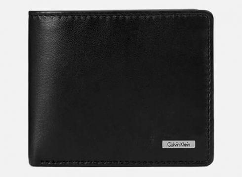 Calvin Klein Men\'s Rail Logo Slimfold Wallet - Black(73244673)