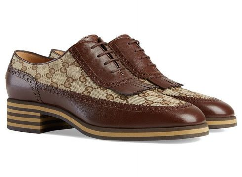 Gucci derbies à empiècement à logo all-over - Marron(76619075)