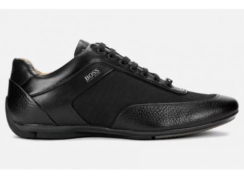 BOSS Men\'s Racing Leather Low Profile Trainers - Black - UK 7 - Schwarz(89038856)