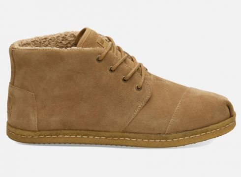 TOMS Men\'s Bota Suede and Shearling Lace Up Boots - Toffee - UK 7 - Tan(59271462)